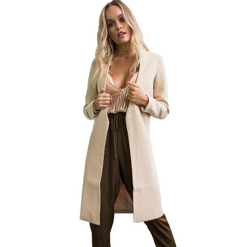 Otoño Invierno Mujer Abrigo Largo Cardigan Abrigo Largo Manga Larga Abrigo Abrigo Abrigo Cálido Sólido