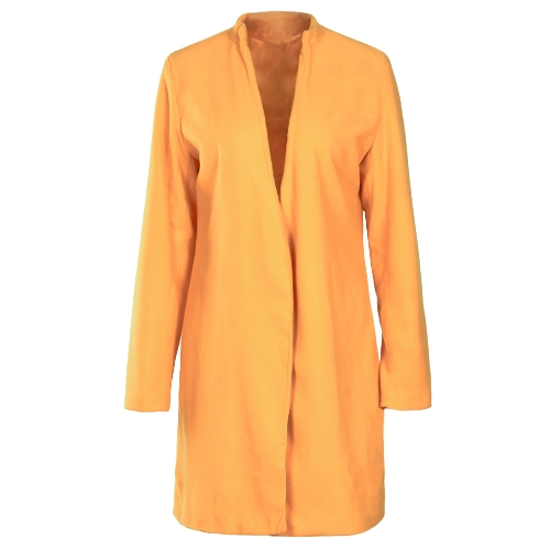 Autumn Winter Women Long Cardigan Coat Open Front Long Sleeve Solid Slim Warm Outerwear Overcoat