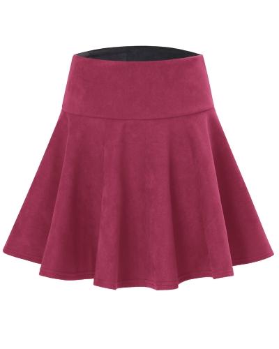 Falda de gamuza de las mujeres de la moda falda de color sólido de cintura alta patinador plisado una línea corta mini falda