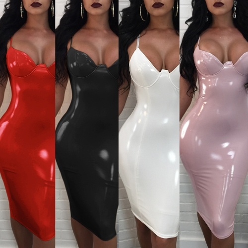 Sexy Women Slip Dress Solid Color Deep V Neck Spaghetti Strap Shiny Bodycon Slim Dress Party Clubwear