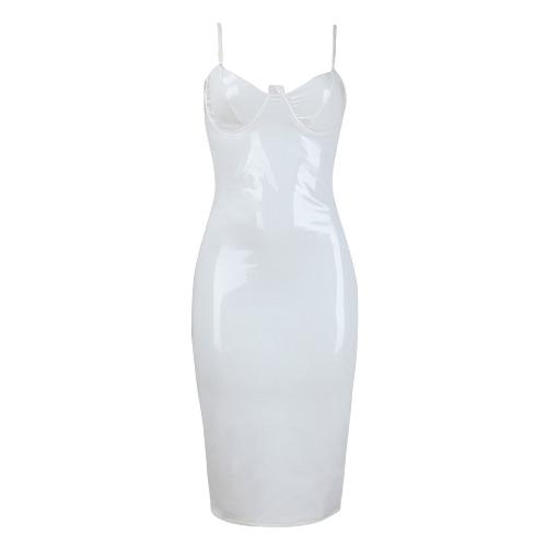 TOMTOP / Vestido de las mujeres atractivas Slip Color sólido cuello en V profunda correa de espagueti Shiny Bodycon vestido delgado fiesta Clubwear