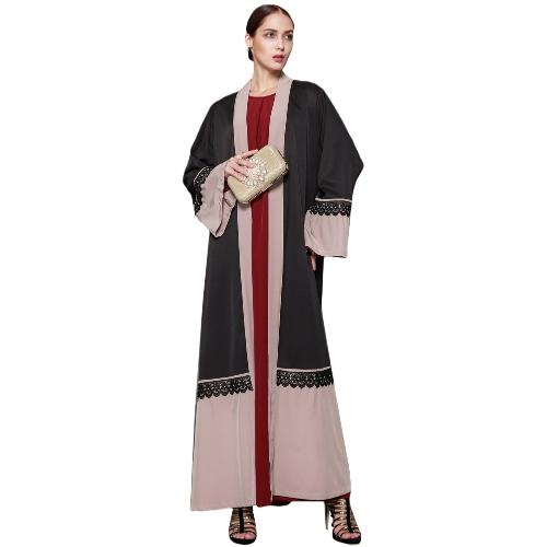 Frauen Spitze Robe Moslemische Strickjacke Türkische Abaya Langarm Dubai Islamische Maxi Kleid mit Gürtel Schwarz