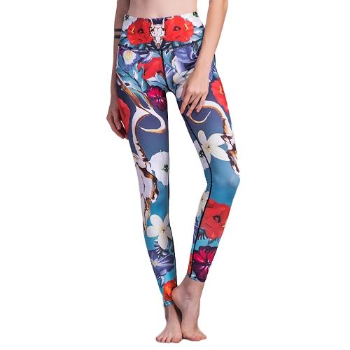 Mujeres de la moda de impresión floral del deporte polainas cintura elástica correr pantalones de yoga gimnasio fitness flacos polainas Joggers azul