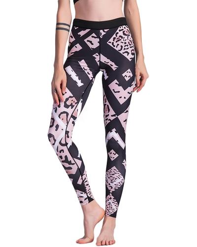 Модные женские леопардные печати Спортивные поножи Высокие эластичные тощие брюки Фитнес-зал Тренировочные поножи Брюки Черные
