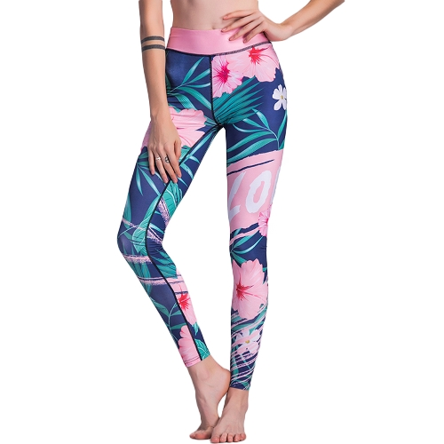 Mode Frauen Blumendruck Fitness Leggings Blume Pflanze Training Yoga Hosen Hohe Taille Activewear Jeggings Grün