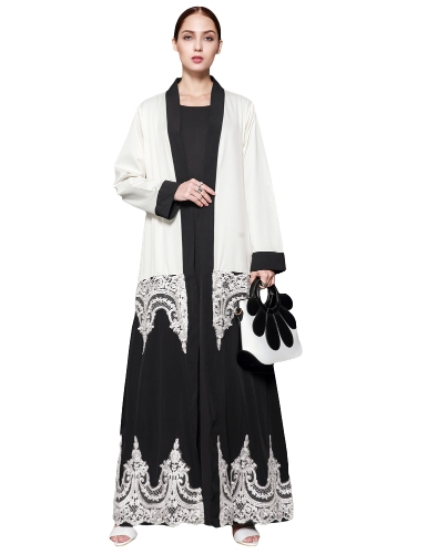 Women Muslim Robes Floral Lace manga comprida Abaya Kaftan islâmico árabe Cardigan Long Grande tamanho Belted Dress White