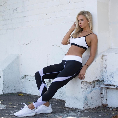 Women Yoga Leggings Sports Pants Mesh Insert Fitness Trousers Running Tights Workout Skinny Leggings Black/White/Grey