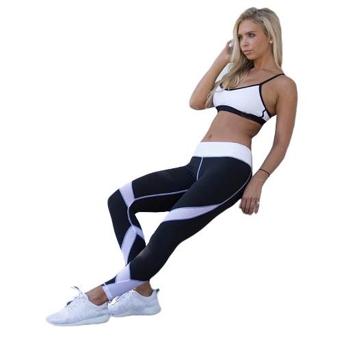 Frauen Yoga Leggings Sport Hosen Mesh Einsatz Fitness Hosen Laufhose Workout Skinny Leggings Schwarz / Weiß / Grau