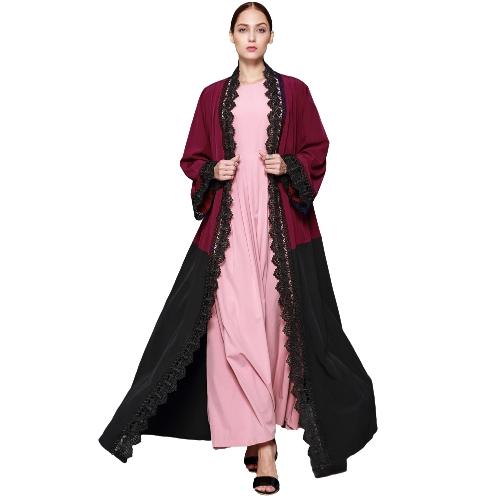 Cárdigan musulmán de talla grande para mujeres Cinta de encaje de ganchillo con manga larga color block Vestido islámico de manga larga Borgoña