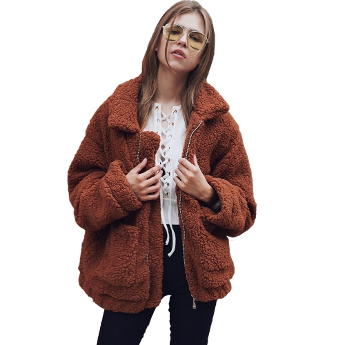 Las mujeres de moda esponjoso Shaggy Faux Fur Coat de manga larga Loose Coat Turn-down Sling Zipper Casual Jacket Outwear Tops