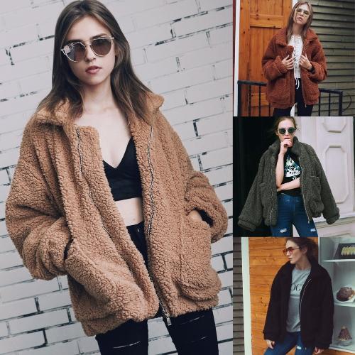 Fashion Women Fluffy Shaggy Faux Fur Coat Long Sleeve Loose Coat Turn-Down Sling Zipper Casual Jacket Outwear Tops