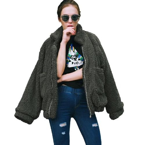Las mujeres de moda esponjoso Shaggy Faux Fur Coat de manga larga Loose Coat Turn-down Sling Zipper Casual Jacket Outwear Tops