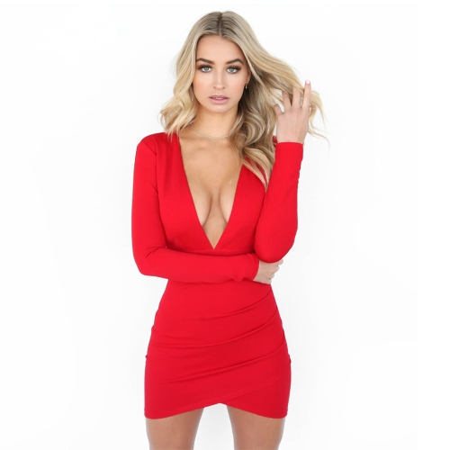 Sexy Frauen Backless tiefem V-Ausschnitt Bandage Kleid Langarm Kreuzmuster Hem Party Club Bodycon Minikleid rot