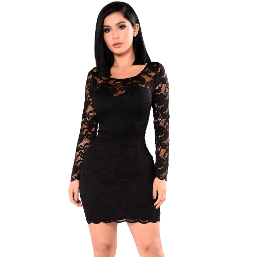 Sexy Women Dress Sheer Floral Lace Sweetheart Shape Wokół szyi Długi rękaw Bodycon Mini Partywear One-Piece