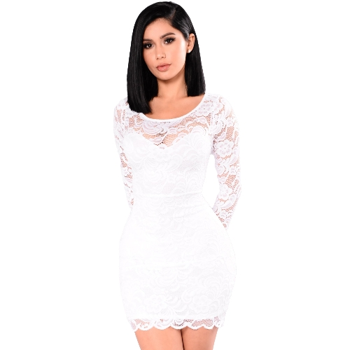Sexy Women Dress Sheer Floral Lace Sweetheart Shape Girocollo Manica lunga Bodycon Mini Partywear One Piece
