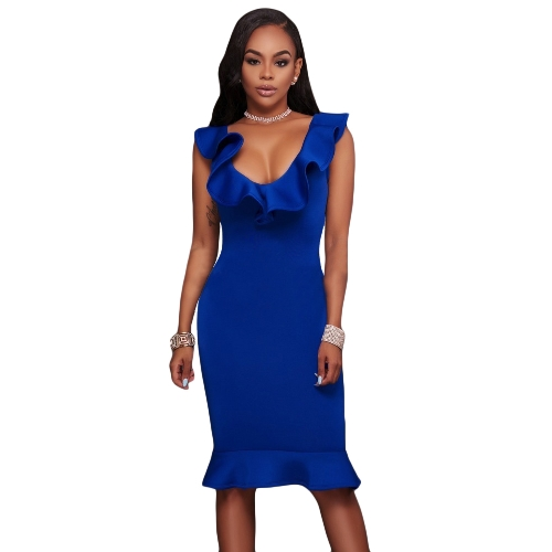 Sexy Women Bodycon Dress Ruffle Deep V-Neck sem mangas Zipper Solid Slim Dresses