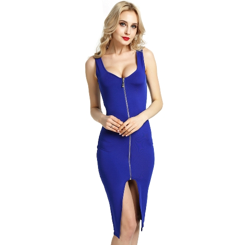 Sexy Women Bodycon Vestido Scoop Neck Sleeveless Zip Front Split Nightclub Party Pencil Tight Dress