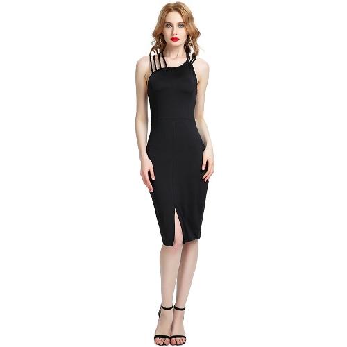 Nuevas mujeres atractivas cruzan el vestido sin mangas con cuello en V O cuello ahuecan el dobladillo del partido del partido del club vestido delgado Midi negro