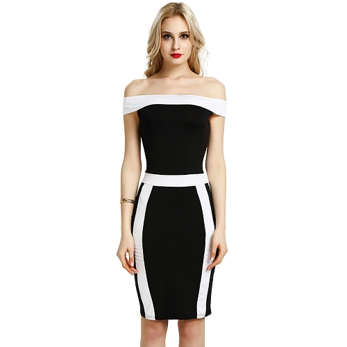 Mulheres Bodycon Off Shoulder Dress Splicing Color Block Slash Neck Mangas curtas Vestido de Bandage Party