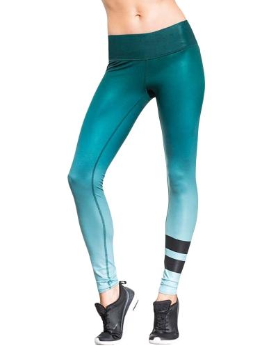 Mujeres atractivas delgadas Leggings Sport Yoga gradiente a rayas Casual Fitness Skinny Pencil Pants Pantalones