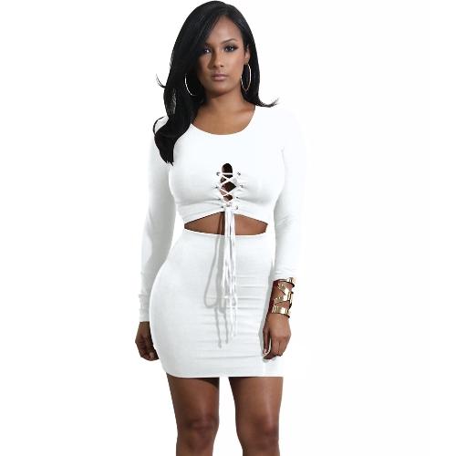 Sexy Women Lace Up с длинным рукавом 2 шт. Платье O Шея с эластичной талией Club Mini Dress Top + Skirt Set