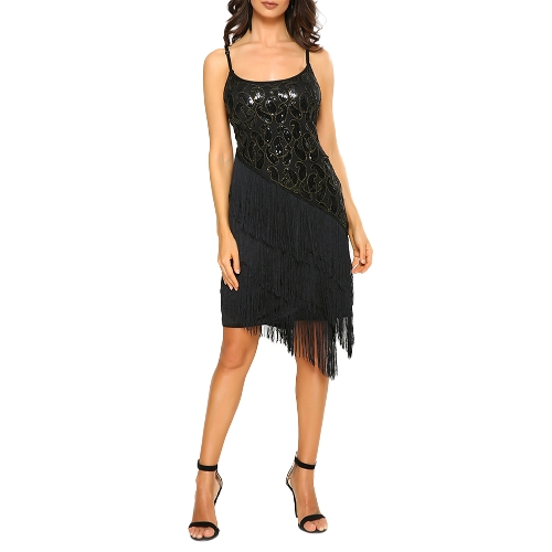 Moda Mulheres Sequin Fringe Party Dress 1920 Gatsby Flapper Vestido sem mangas Tassel Hem Retro Dress Ouro / Preto