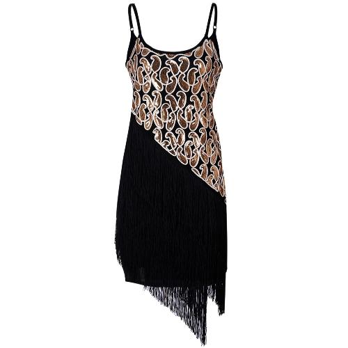 Vestido de fiesta con flecos de lentejuelas de mujer de la moda de los años 20 Gatsby Vestido de fiesta con bolsillos sin costuras con borla dobladillo Vestido retro dorado / negro