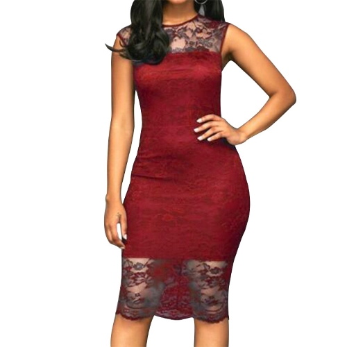 New Sexy Women Floral Lace Sleeveless Bodycon Dress O Neck Evening Party Club Bandage Vestido Midi Borgonha / Azul escuro