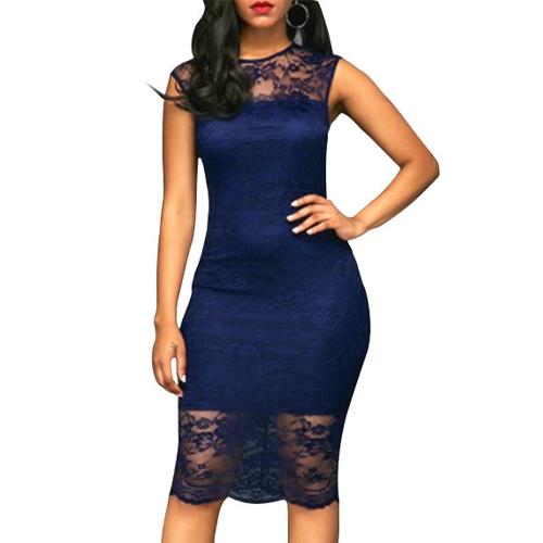Vestido sin mangas con cuello en V sin mangas de encaje floral sexy para mujer Vestido sin mangas con cuello en V club nocturno en color borgoña / azul oscuro