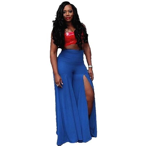 Mulheres Calças Cor sólida Lado dividido Cintura alta Largo Loose Flared Legs Baggy Casual Calças Azul