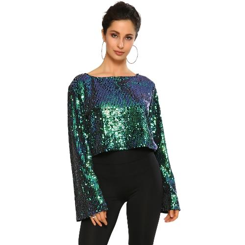 Nueva Sexy Mujeres lentejuelas Flare Sleeve Crop Top O Neck Brillante Bling manga larga Casual Party Top camiseta negro / verde