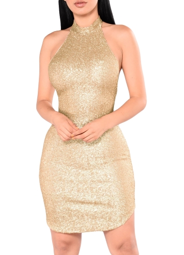 Sexy Frauen Pailletten Sleeveless Halter Kleid Bling Glitter Schlank Party Dress Nightclub Mini Kleid Beige