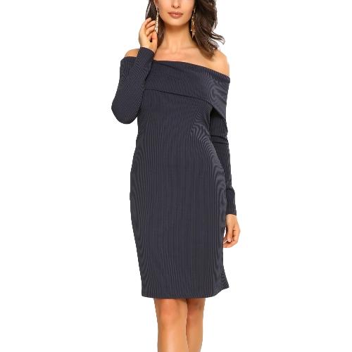 Nuevas mujeres elegantes Bodycon Mini vestido superposición Slash cuello de manga larga vestido de fiesta de color sólido Borgoña / azul real