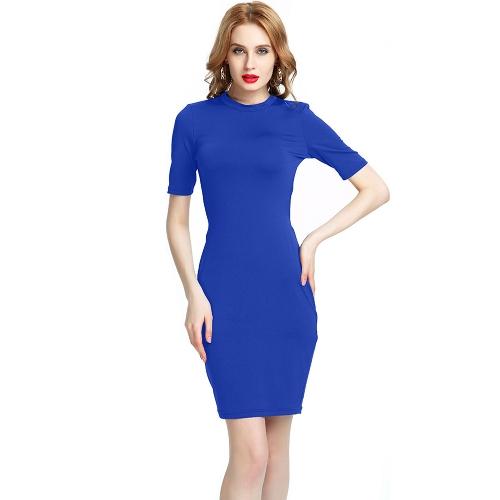Nuevo vestido de fiesta atractivo del club nocturno de la manga corta del o-cuello de las nuevas mujeres atractivas del vestido del tirante