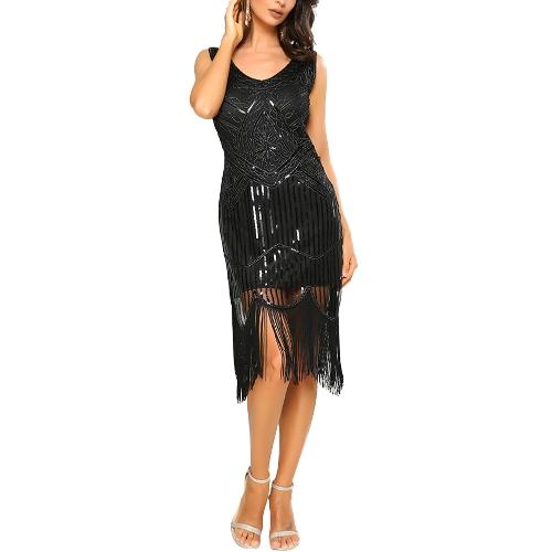 Vestido sin mangas con lentejuelas de Fringing de las mujeres Malla V profundo Jazz Edad Flapper Gatsby Vestido de fiesta Vestidos de la vendimia