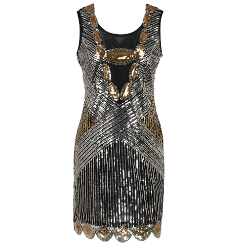 Sexy Women 1920s Sparkling Sequin Dress O Neck Sleeveless Backless Bodycon Cocktail Evening Party Clubwear Oro / Argento