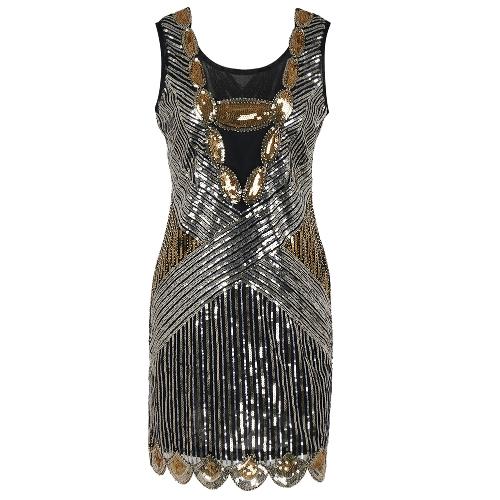 Sexy Frauen 1920er Jahre funkelnde Pailletten Kleid O Hals ärmelloses Backless Bodycon Cocktail Abendgesellschaft Clubwear Gold / Silber