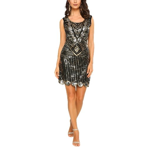 Sexy Women 1920 Sparkling Sequin Dress O Neck Sleeveless Backless Bodycon Cocktail Evening Party Clubwear Gold / Silver
