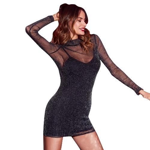 Mulheres Sexy Metallic Mesh Mini Vestido Spaghetti Strap Pescoço Alto Vestido Transparente Preto
