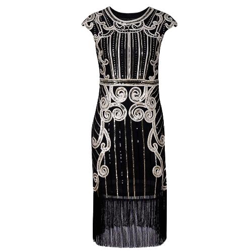 Vestido de fiesta de las mujeres con bordado de lentejuelas de la franja 1920s aleta sin mangas vestido midi de la vendimia azul / negro / plata