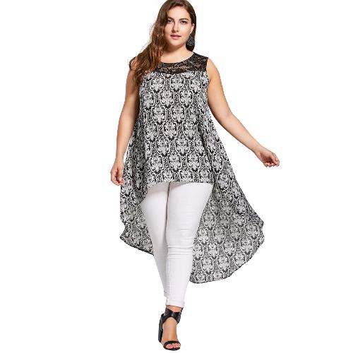 Mulheres Plus Size Camisa Irregular Hem Lace Splice Casual Túnica Longa Blusa Top Preto