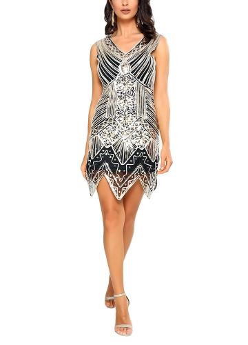 Vestido de lentejuelas espumoso de las mujeres de la vendimia profunda con cuello en V sin mangas delgado vestido de noche cóctel fiesta de noche Mini Vestidos