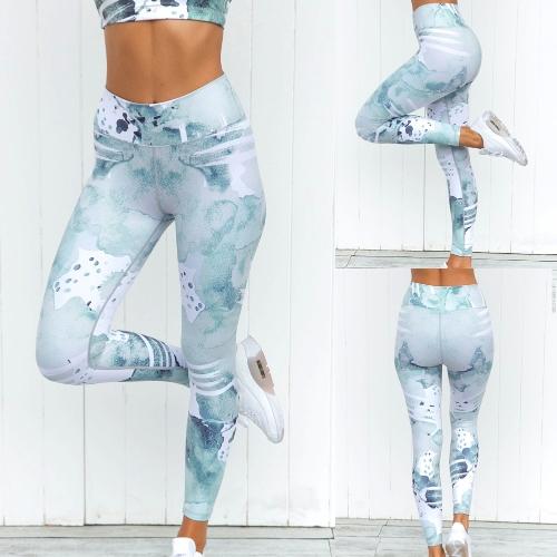 Immagine di Sport delle donne Gambali di Yoga Stampa di acquerello Sport estetico Abbigliamento sportivo Fitness Workout sottile Pantaloni Pantaloni