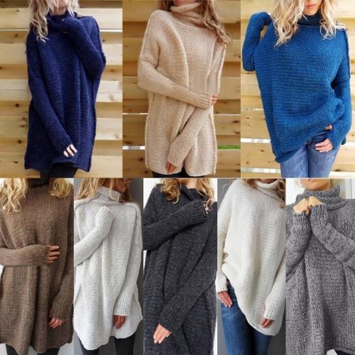 Вскользь Женщины Вязаные свитера Водолазка Drop Плечо Длинные рукава Loose Long Pullover Трикотаж фото