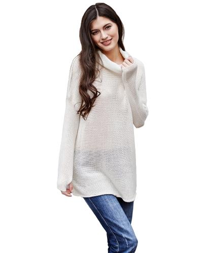 Beiläufige Frauen Gestrickte Pullover Rollkragen Tropfen Schulter Lange Ärmel Lose Lange Pullover Strickwaren