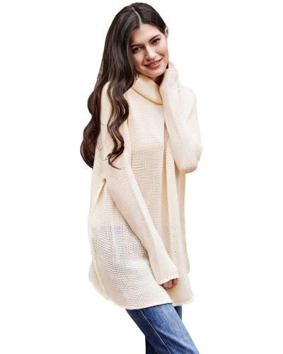 Casual mujer jersey de punto jersey de cuello alto hombro largo mangas largas sueltas jersey de punto