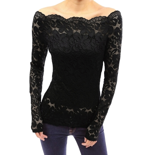 Sexy Women Hollow Out Lace Bluzka Off Shoulder Slash Neck Długie rękawy Elegancka damska Top Shirt