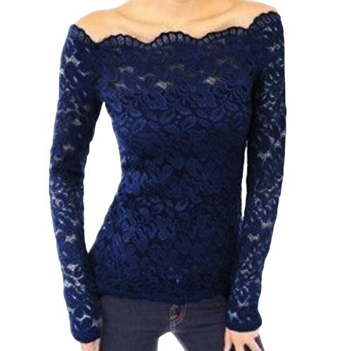 Las mujeres atractivas ahuecan hacia fuera la blusa del cordón del hombro Slash Neck Long Sleeves Elegant Ladies Top Shirt
