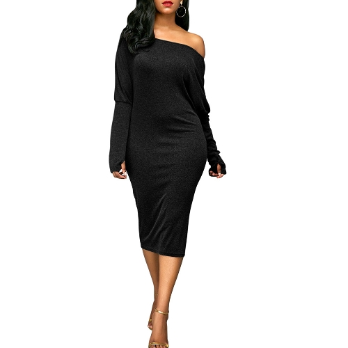 Sexy Women Dress Off Shoulder Cut Out Bat Sleeves Solid Elegant Party Club Midi Vestidos