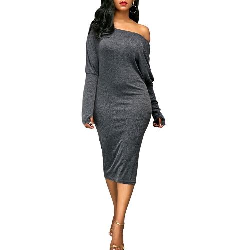 Las mujeres atractivas se visten de hombro corte mangas murciélago sólido elegante Party Midi vestidos de fiesta